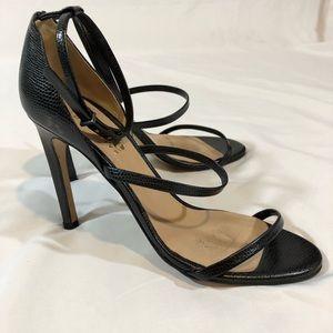 Black Thin Strap Heels, Sz. 38 (fits 7.5 US)